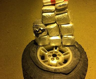 Border Patrol finds more than 70 pounds of coke and meth in spare tire