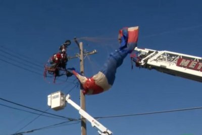 Paragliding Santa Claus rescued from power lines in California