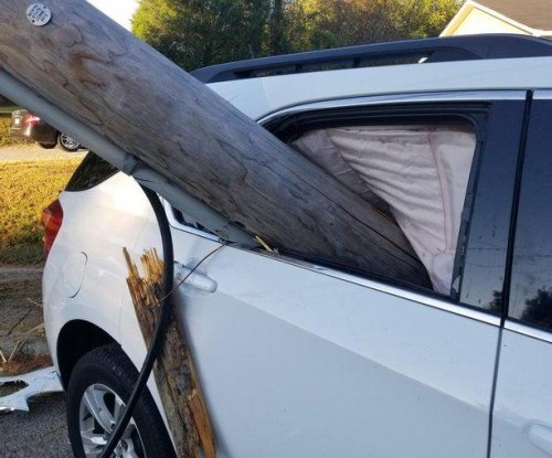 Utility pole ends up lodged in back seat of car