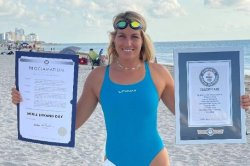 Estonian swims 18.6 miles with a monofin for Guinness World Record