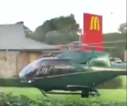 Helicopter pilot lands next to McDonald's for late lunch