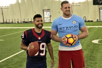 los angeles 17759 a336d J.J. Watt sports tiny jersey after swapping shirts ...