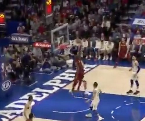 LeBron James throws down jam, stares down Sixers