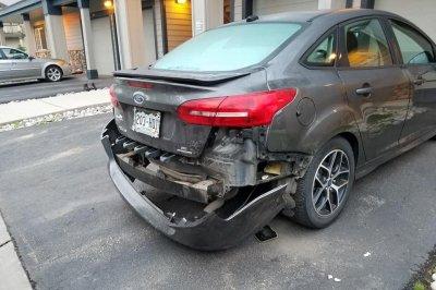 Bear rips bumper off Colorado doughnut shop's delivery car