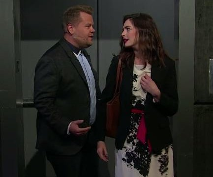 Anne Hathaway, James Corden sing rom-com soundtrack on 'Late Late Show'