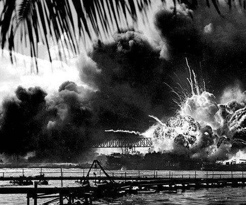 Japanese attack Pearl Harbor, heavy loss of life; U.S. fleet steams to sea