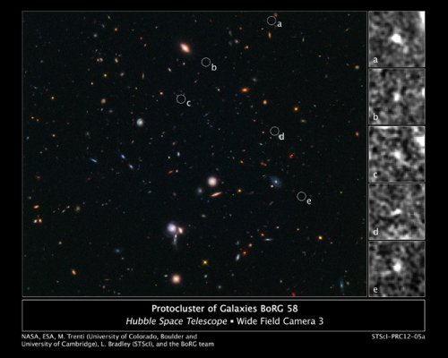 Hubble finds most distant galaxy cluster