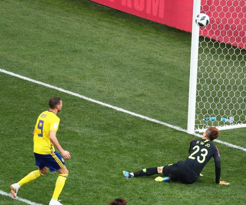 Sweden's Berg misses shot from point-blank range off keeper's face