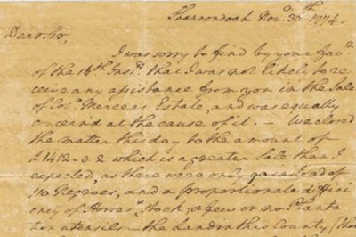 George Washington letter on sale of slaves up for auction