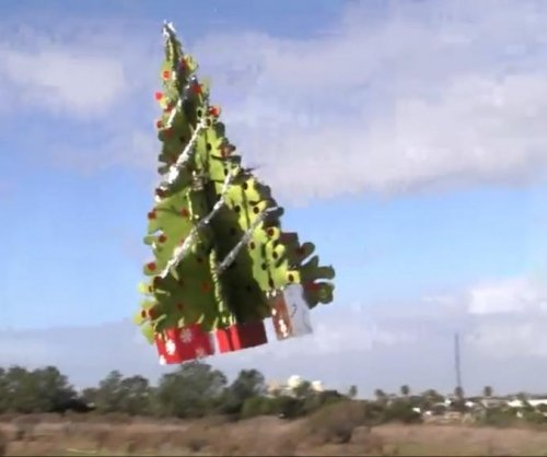 Flying Christmas tree takes to the California sky