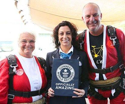 World Record 150 Santas tandem parachute in Australia