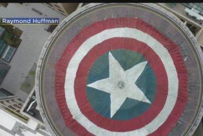 MIT dome transformed into Captain America shield