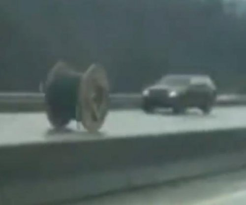 Giant spool of wire goes barreling down Pennsylvania highway