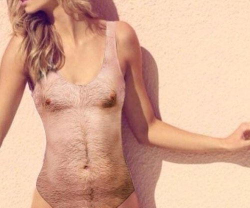 Women's one-piece bathing suit modeled after hairy male body