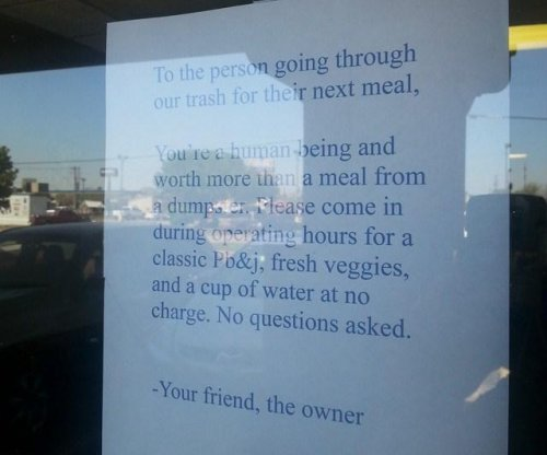 Oklahoma restaurant offers free meal to dumpster diver