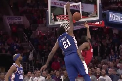 Joel Embiid swats James Harden, stares him down