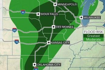 Heavy rain to threaten central U.S. with river flooding, travel disruptions