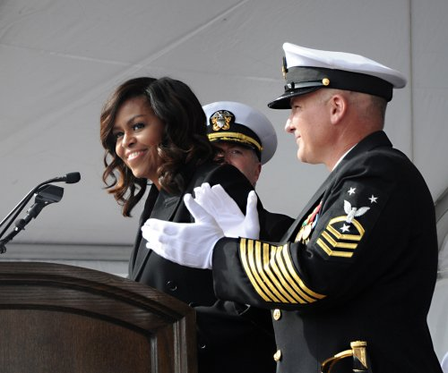 First lady Michelle Obama welcomes U.S. Navy's most advance submarine USS Illinois