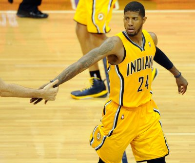Paul George hits deep circus shot