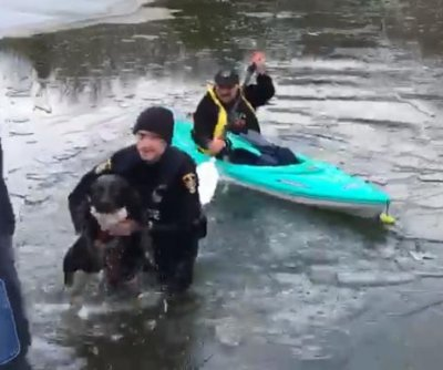 Police officer, kayaker rescue dog from frozen Ohio pond