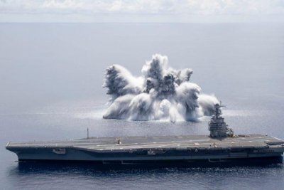 USS Gerald R. Ford tested with explosives in shock trials