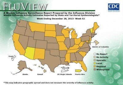 Number of states with widespread flu activity jumps from 10 to 25