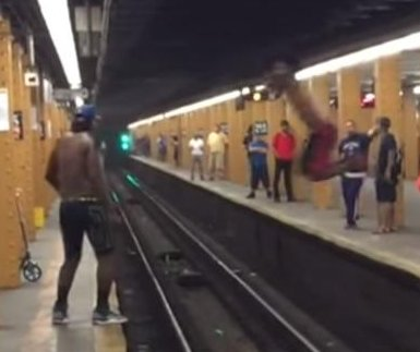 Subway long jump attempt fails in viral video