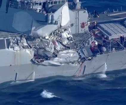 Sailors missing after U.S. Navy destroyer collides with ship in Pacific