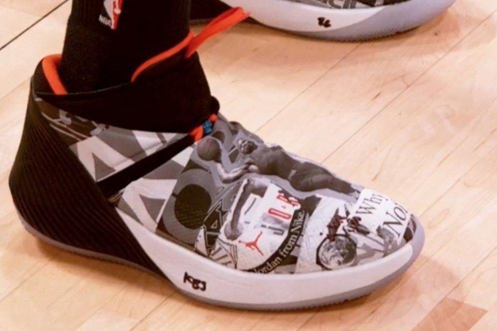 807fab19bd36ee Watch  Russell Westbrook explains story behind bold signature shoes -  UPI.com