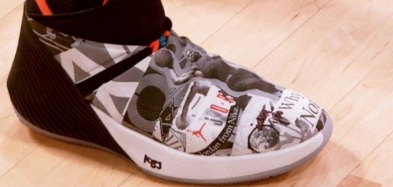 Watch  Russell Westbrook explains story behind bold signature shoes -  UPI.com 21b9426a8
