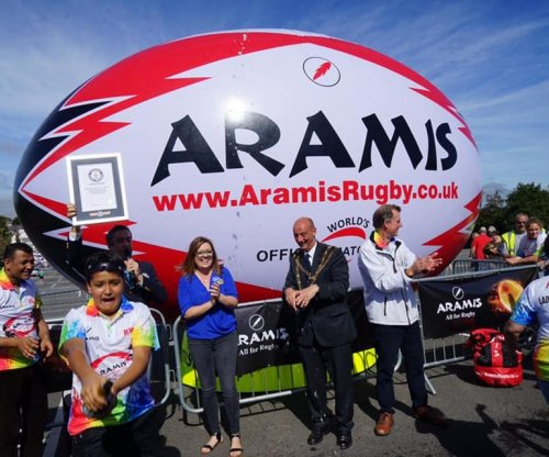 Giant rugby ball sets Guinness record in Britain