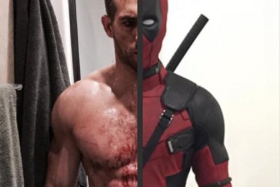 Ryan Reynolds shows off abs under 'Deadpool' suit
