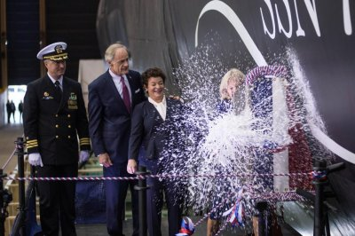 Jill Biden christens 18th Virginia-class sub for Navy