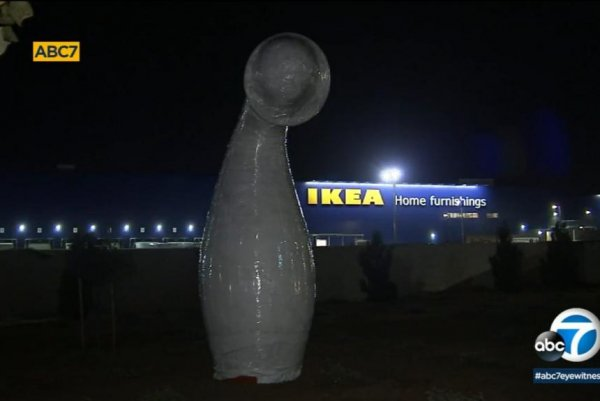 watch oddly shaped sculpture turning heads outside ikea. Black Bedroom Furniture Sets. Home Design Ideas