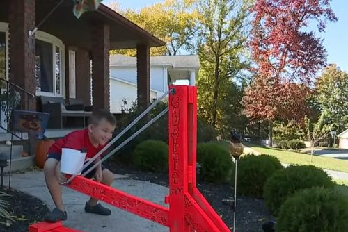Pennsylvania family builds 'Candypult' for safe trick-or-treating