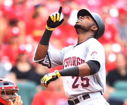 Pittsburgh Pirates' Gregory Polanco leaves after outfield collision