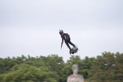 French inventor's 'flyboard' draws attention at Bastille Day celebration