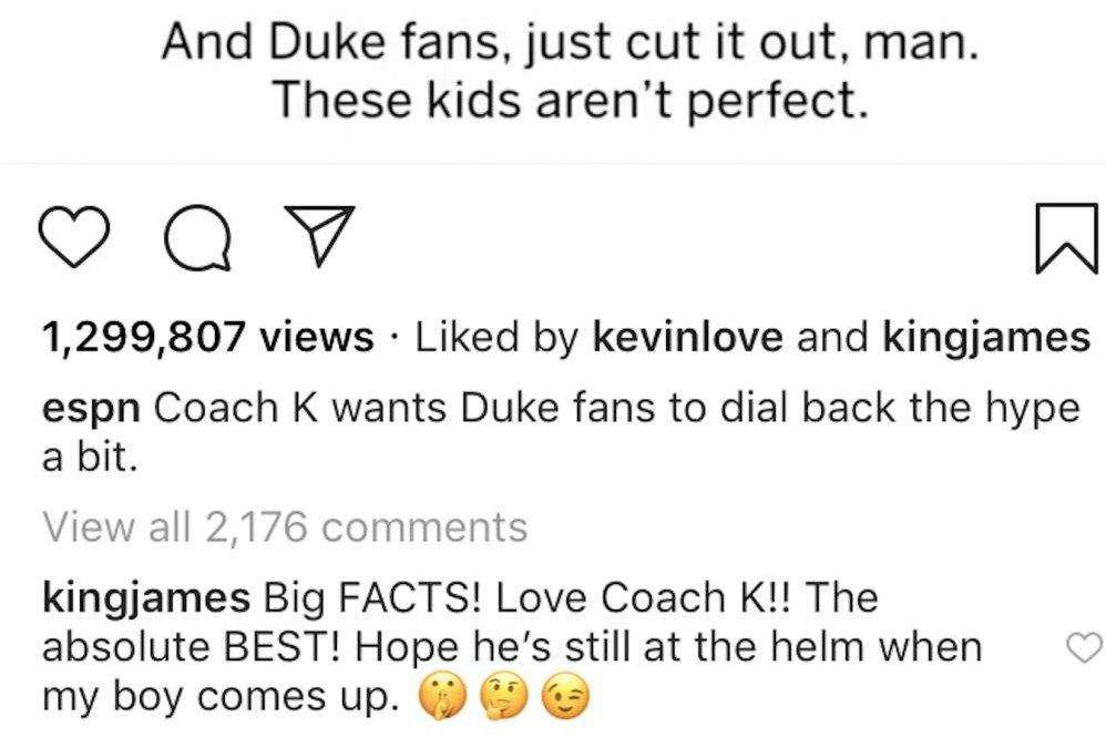 648c68b1eaf LeBron James hints that son will play at Duke - UPI.com