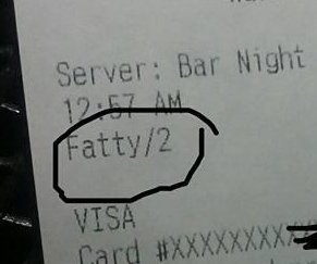 Restaurant server fired over receipt calling customer 'Fatty'