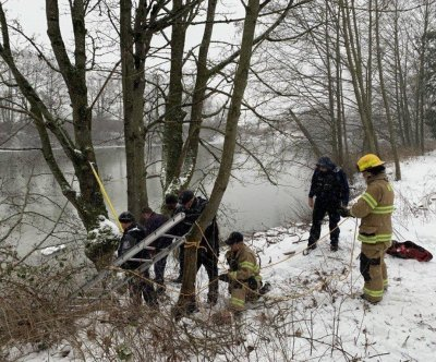 Crews rescue struggling dog from freezing Washington state river