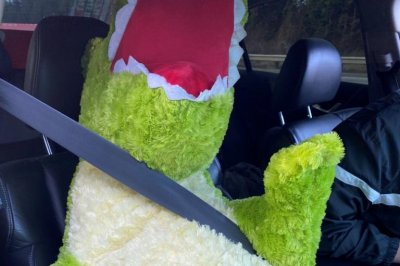 Driver caught using carpool lanes with stuffed dinosaur passenger