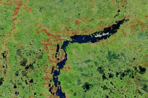 NASA satellites spots flooded Russian city