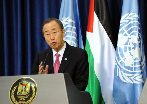 U.N. chief talks Israeli-Palestinian peace