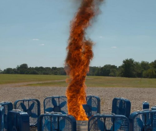 Artificial fire tornado filmed at super-slow speed