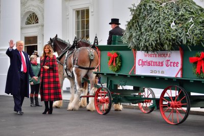 President, first lady receive White House Christmas tree