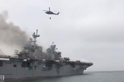 USS Bonhomme Richard remains on fire, two more sailors hurt while battling blaze