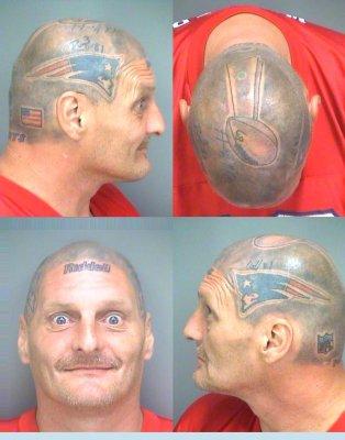 Florida man with Patriots helmet tattooed on head arrested