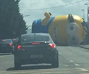 Giant inflatable Minion blocks highway in Ireland