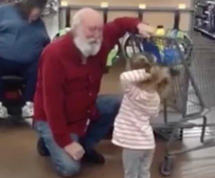 Young girl mistakes Walmart shopper for Santa Claus