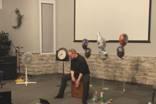 Musician plays box drum for over 25 hours for new Guinness record